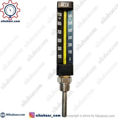 ترمومتر جیوه ای اس تی ST اتصال عمودی 0 تا 600 درجه