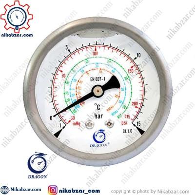 مانومتر گاز فریون دراگون DRAGON افقی روغنی low 215 psi