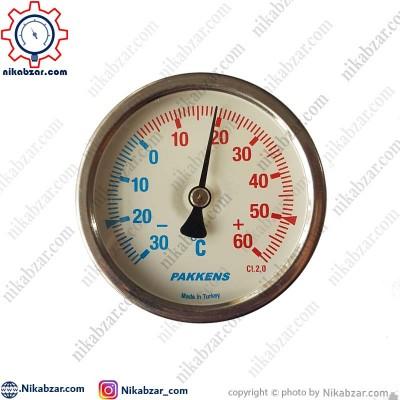 ترمومتر پکنز PAKKENS صفحه 6 سانت افقی 30- تا 60+ درجه