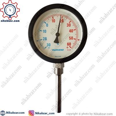 ترمومتر پکنز PAKKENS صفحه 10 سانت عمودی 30- تا 60+ درجه