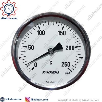 ترمومتر پکنز PAKKENS صفحه 10 سانت افقی 250 درجه