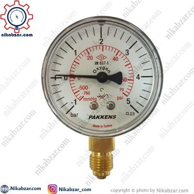 مانومتر خلاء فشار پکنز PAKKENS صفحه 6 سانت عمودی خشک 1- تا 5+ بار