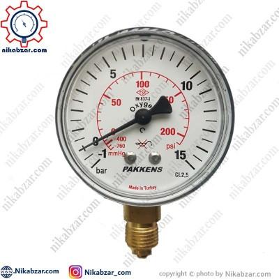 مانومتر خلاء فشار پکنز PAKKENS صفحه 6 سانت عمودی خشک 1- تا 15+ بار